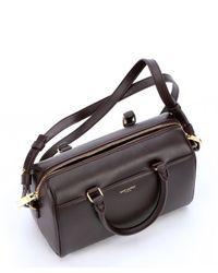 Saint Laurent - Brown Bordeaux Leather Convertible Mini Duffle Bag - Lyst