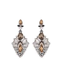 Mikey | Metallic Drop Crystal Hanging Earring | Lyst