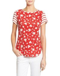 Amour Vert | Red 'astrid' Mixed Media Top | Lyst