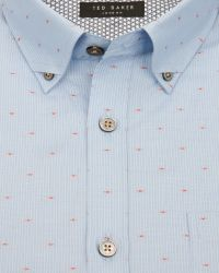Ted Baker | Blue Knightd Striped Fil Coupé Shirt for Men | Lyst