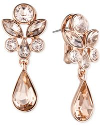 Givenchy | Pink Crystal Cluster Linear Drop Earrings | Lyst