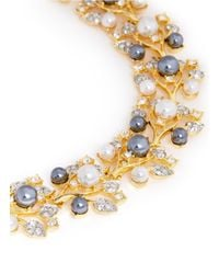 Kenneth Jay Lane - Metallic Pearl And Crystal Pavé Vine Necklace - Lyst