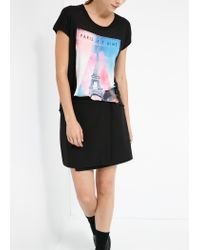 Mango - Black City Print T-Shirt - Lyst