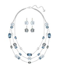 Swarovski | Blue Divinity Layered Necklace And Drop Earrings Set | Lyst
