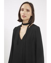 TOPSHOP - Black Tie-neck Tunic Dress - Lyst