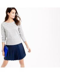 J.Crew | Gray Embellished-yoke Striped T-shirt | Lyst