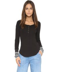 Free People | Newbie Thermal Henley - Black | Lyst