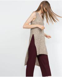 Zara | Natural Long Top | Lyst