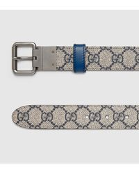 dd1ad8a53cd Gucci Reversible Leather And Gg Supreme Belt in Blue for Men - Lyst