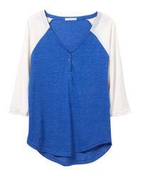 Alternative Apparel - Blue Eco-jersey Raglan Henley Shirt - Lyst