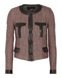 Isabel Marant Pink Kacie Leather-Trimmed Wool-Blend Tweed Jacket