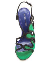 Sergio Rossi - Suede Heels - Green/Blue - Lyst
