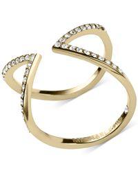 Michael Kors - Metallic Open Arrow Clear Pavé Ring - Lyst