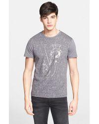 Versace Jeans - Gray Foil Logo Print T-Shirt for Men - Lyst