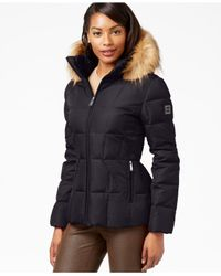 Calvin Klein - Gray Faux-fur-trim Hooded Puffer Down Coat - Lyst