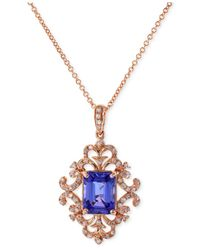 Effy Collection | Pink Tanzanite (1-1/3 Ct. T.w.) And Diamond (1/5 Ct. T.w.) Antique Pendant Necklace In 14k Rose Gold | Lyst