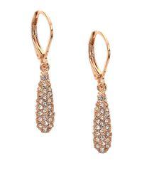 Anne Klein | Pink Glitz Oval Drop Earrings | Lyst