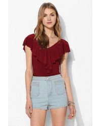 Pins And Needles - Red Ruffle Vneck Top - Lyst