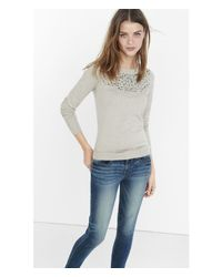 Express | Gray Rhinestone Embellished Crew Neck Sweater | Lyst