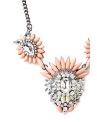 Forever 21 | Orange Ornate Faux Stone Necklace | Lyst