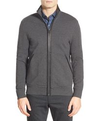 Michael Kors | Gray Mock Neck Zip Cardigan With Leather Trim for Men | Lyst