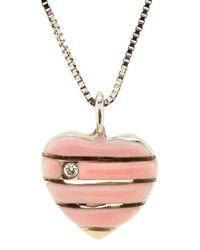 Roberto Coin - Pink 18k Enamel Diamond Heart Pendant Necklace - Lyst