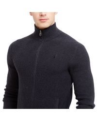 Polo Ralph Lauren | Gray Cotton Full-zip Sweater for Men | Lyst