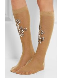 Dolce & Gabbana - Crystal-embellished Metallic Knitted Socks - Lyst