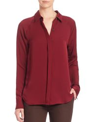 Theory | Red Lanali Silk Blouse | Lyst