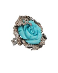 Wendy Yue - Blue Carved Turquoise Flower Ring - Lyst