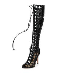 Gianvito Rossi - Black Laser-Cut Leather Knee-High Boots - Lyst