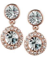 Givenchy | Pink Rose Gold-tone Pavé Drop Earrings | Lyst