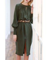 Martin Grant - Green Silk Long Sleeve Dress - Lyst