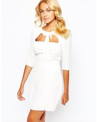 Love - Natural Bow Front Skater Dress With Open Bodice Detail - Cream - Lyst