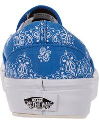 Vans - Blue Bandanaprint Classic Slipon Sneakers for Men - Lyst