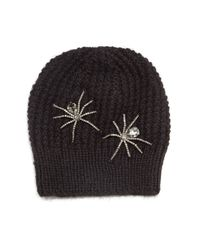 Jennifer Behr | Black Double Crystal Spider Knit Beanie Hat | Lyst