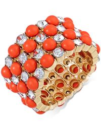 INC International Concepts - Pink Gold-tone Coral Bead And Crystal Stretch Bracelet - Lyst