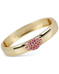 Betsey Johnson | Metallic Gold-tone Crystal Lips Hinged Bangle Bracelet | Lyst