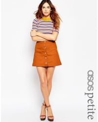 ASOS | Brown Exclusive A-line Mini Skirt With Button Front | Lyst