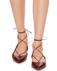 Aquazzura - Red Burgundy Nappa Leather Christy Lace Up Flats - Lyst