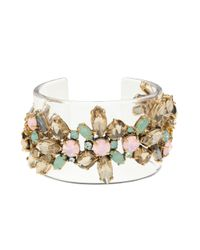 J.Crew - Multicolor Lucite Stacked Stone Cuff - Lyst