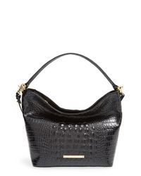 Brahmin | Black 'Small Harrison' Croc Embossed Leather Hobo | Lyst