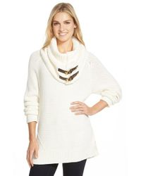 MICHAEL Michael Kors | Natural Sweater With Removable Buckle Tab Cowl | Lyst
