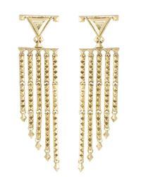 House of Harlow 1960   Metallic Tres Tri Fringe Earrings   Lyst