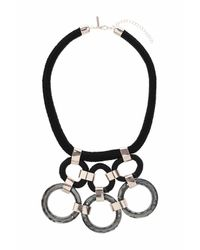 TOPSHOP | Black Glass Circle And Cord Necklace | Lyst