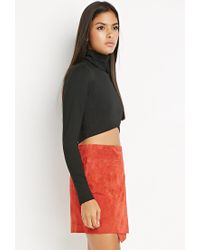 Forever 21 | Black Contemporary Wrap Turtleneck Crop Top | Lyst