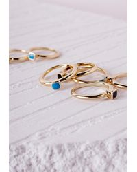 Missguided | Metallic Rainbow Stones Stacking Ring Set Gold | Lyst