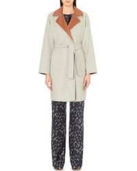 Max Mara | Gray Gel Wool And Angora-blend Coat | Lyst