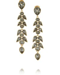 Oscar de la Renta - Metallic Wisteria Gold-Plated Crystal Clip Earrings - Lyst