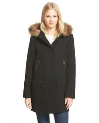 Vince Camuto | Black Faux Fur Trim Hooded Wool Blend Duffle Coat | Lyst